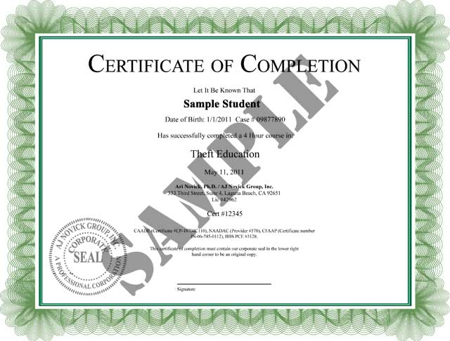 Theft class online certificate of completion view a sample copy of our theft class certificate of completion yadclub Image collections
